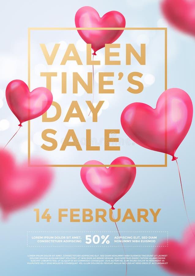 Insegna di web di vendita di giorno di S. Valentino dei palloni rossi del cuore nel lustro leggero su fondo blu Testo dorato di v illustrazione di stock