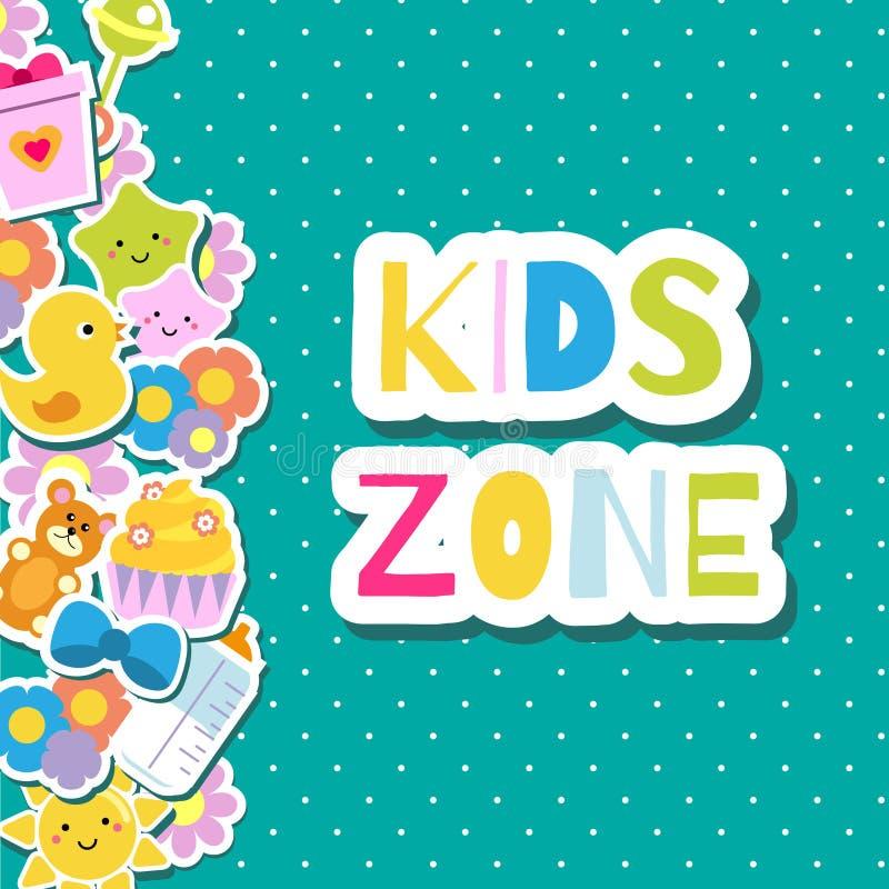 Insegna di zona dei bambini Fondo variopinto della pagina del confine con i giocattoli ed i simboli dei bambini illustrazione vettoriale