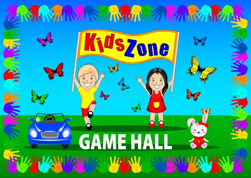 Insegna di zona dei bambini, manifesto illustrazione di stock