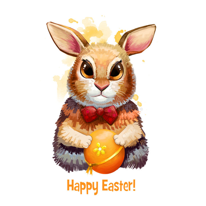 Insegna digitale felice di Pasqua con coniglio nello stile del fumetto con l'uovo decorato Progettazione divertente della cartoli illustrazione vettoriale