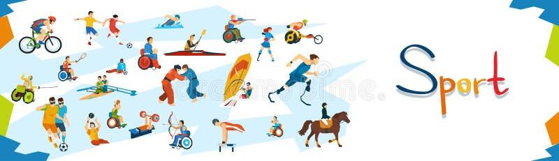 Insegna disabile della competizione sportiva degli atleti illustrazione di stock