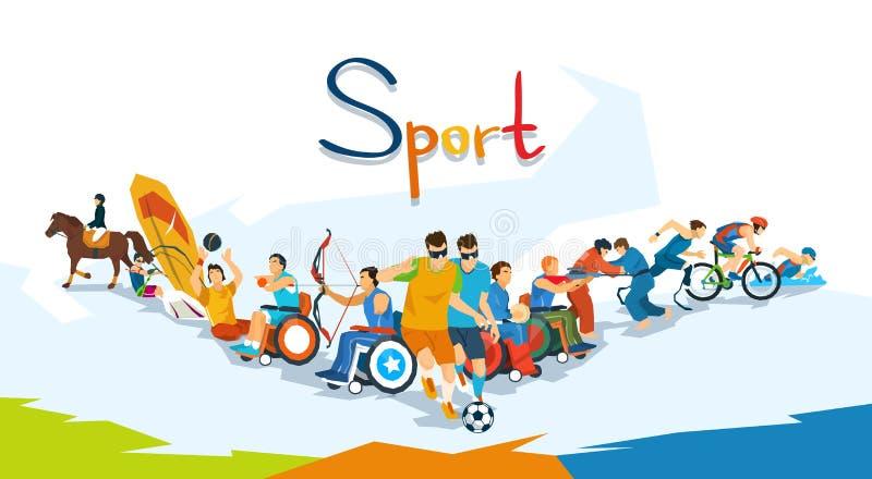 Insegna disabile della competizione sportiva degli atleti illustrazione vettoriale