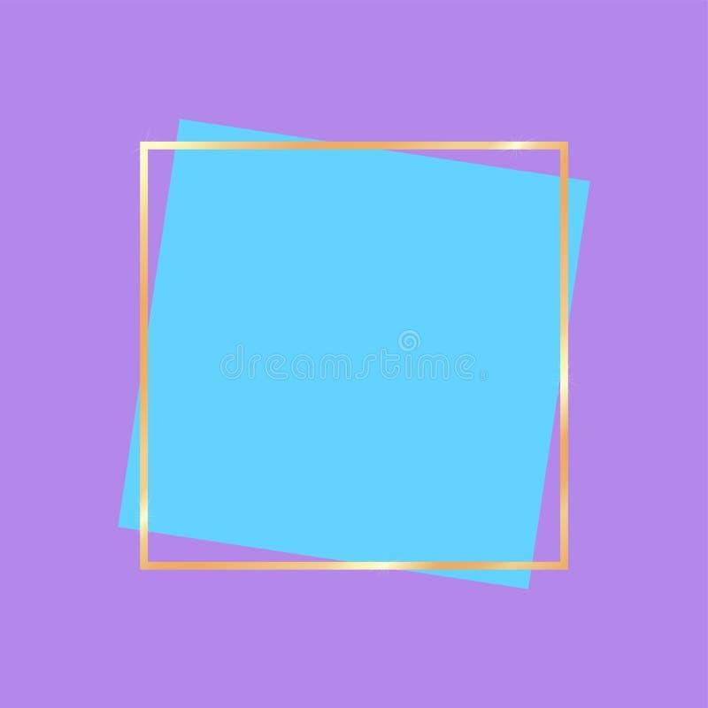 Insegna dorata della struttura per i colori luminosi della pubblicità illustrazione vettoriale