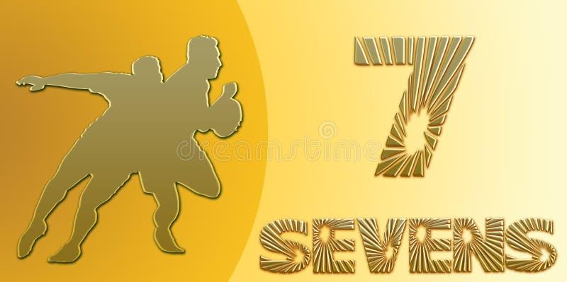 Insegna dorata di rugby di Sevens su oro royalty illustrazione gratis