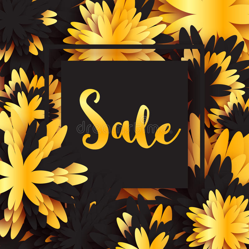 Insegna dorata di vendita di estate della primavera della stagnola con la struttura per l'affare Carta di applique con i fiori di royalty illustrazione gratis