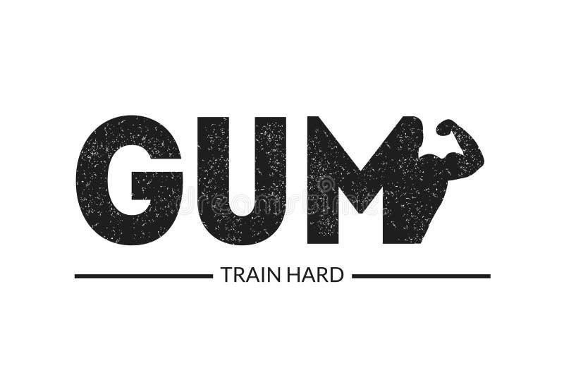 Insegna dura del treno, palestra, manifesto di pubblicità di addestramento del corpo, culturismo ed illustrazione in bianco e ner illustrazione di stock