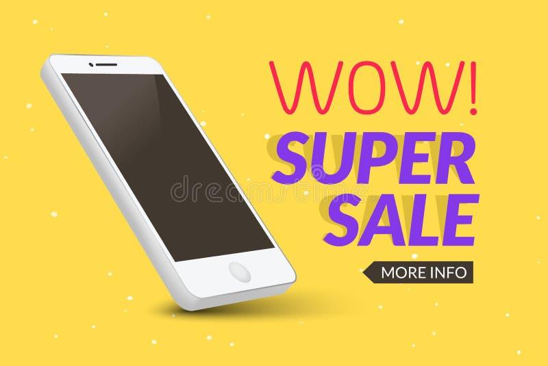 Insegna eccellente del telefono di vendita Manifesto mobile di sconto di liquidazione Vendita di Smartphone Promozione commercial illustrazione di stock