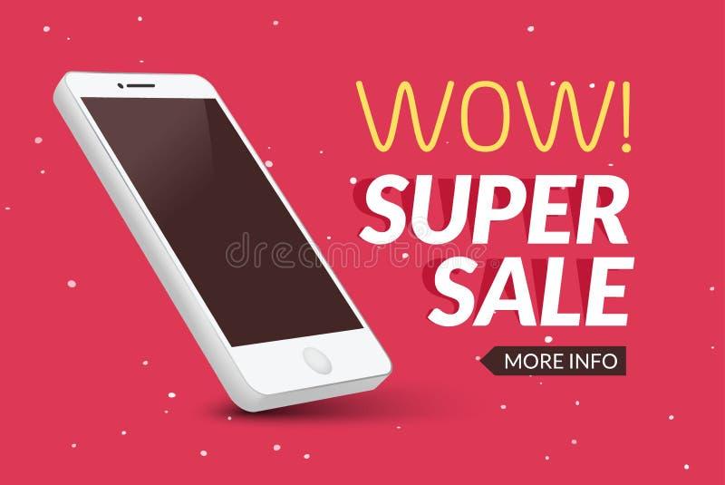 Insegna eccellente del telefono di vendita Manifesto mobile di sconto di liquidazione Vendita di Smartphone Promozione commercial illustrazione vettoriale