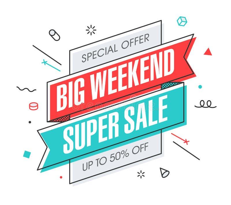 Insegna eccellente di vendita di grande fine settimana royalty illustrazione gratis