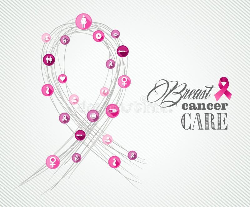 Insegna ENV di concetto di simboli di consapevolezza del cancro al seno illustrazione vettoriale