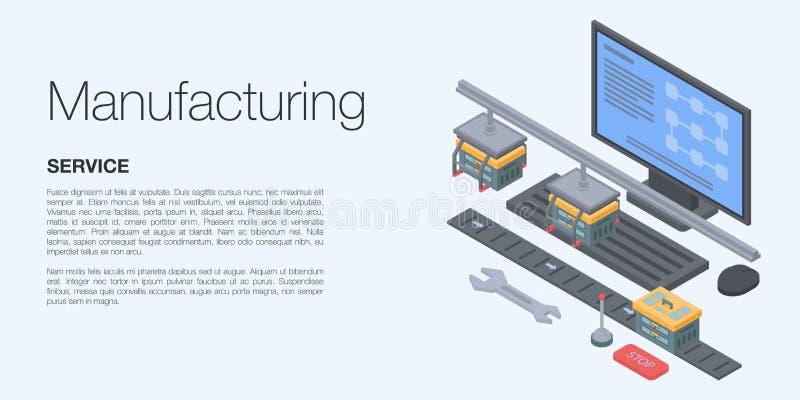 Insegna fabbricante di concetto, stile isometrico illustrazione di stock