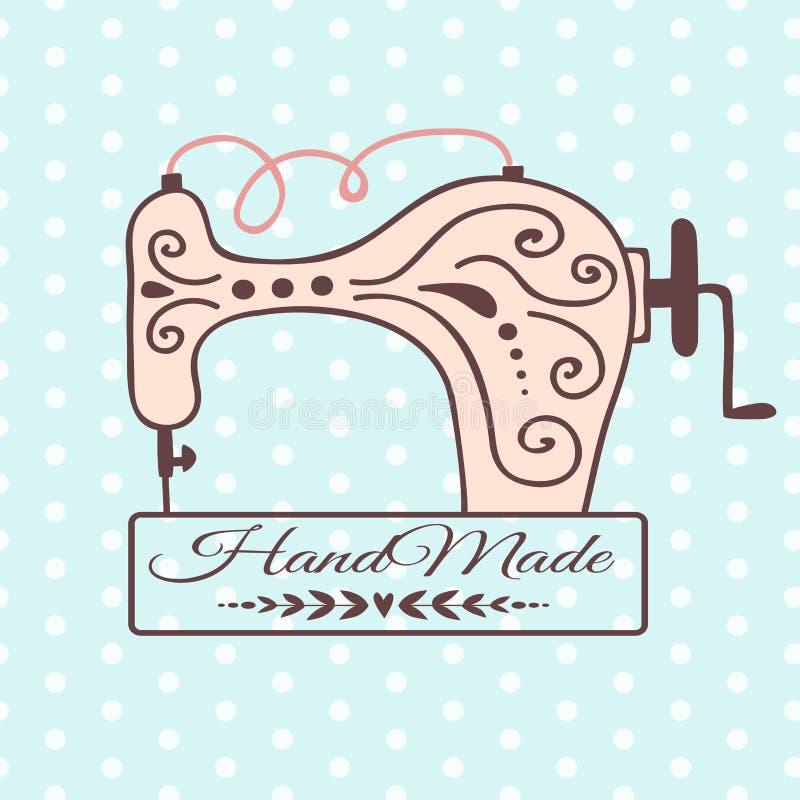 Insegna fatta a mano della macchina per cucire del distintivo del mestiere del cucito illustrazione vettoriale