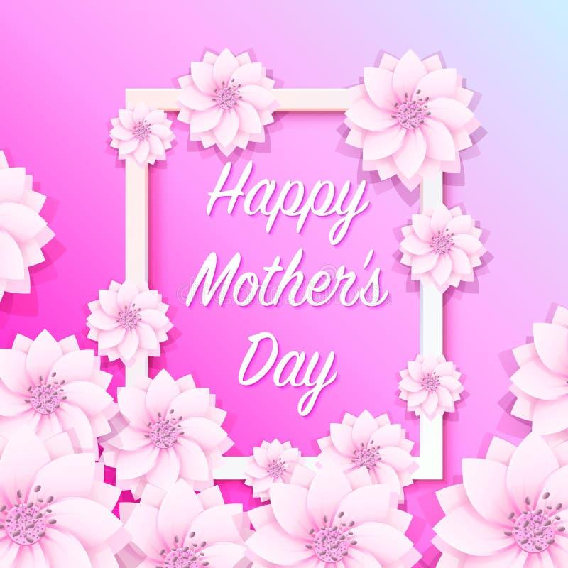 Insegna felice del fiore della struttura di giorno di madre illustrazione di stock