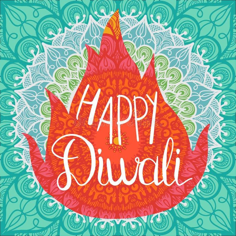 Insegna felice di celebrazione di Diwali illustrazione di stock