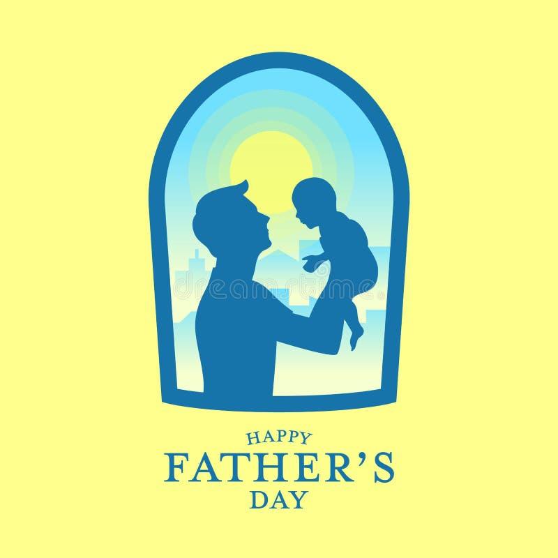 Insegna felice di festa del papà con il padre della siluetta che porta un bambino nella vista della finestra e nella progettazion illustrazione vettoriale