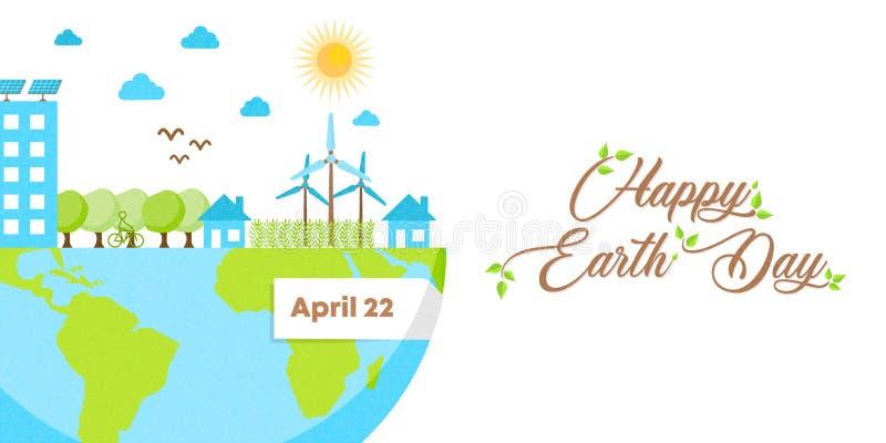 Insegna felice di giornata per la Terra della città amichevole di eco verde illustrazione di stock