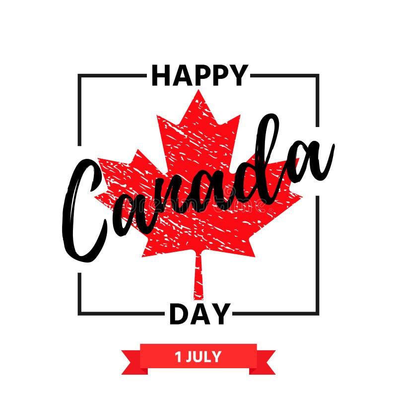 Insegna felice di giorno del Canada Illustrazione di vettore Progettazione di festa royalty illustrazione gratis