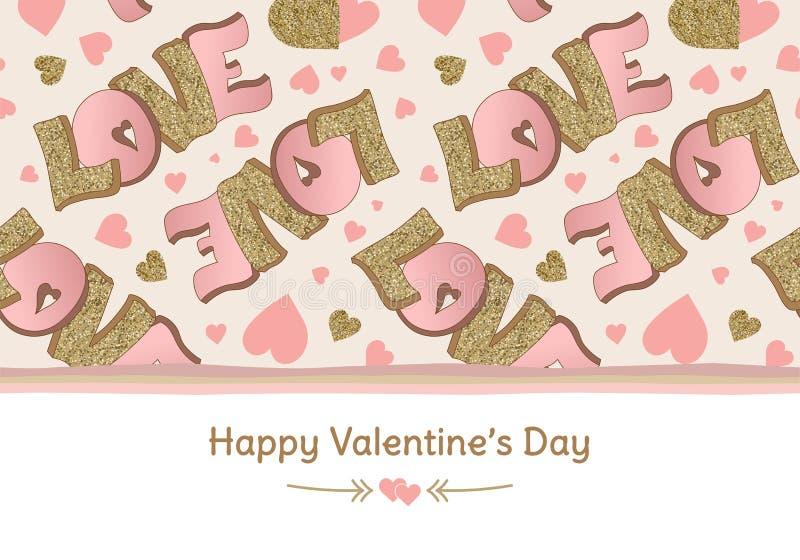 Insegna felice di giorno del ` s del biglietto di S. Valentino Cartolina d'auguri Amore iscrizione Oro e colori rosa Cuori disegn illustrazione vettoriale