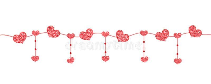 Insegna felice di giorno del ` s del biglietto di S. Valentino con i cuori fatti di scintillio Confini orizzontali brillanti Scin illustrazione vettoriale
