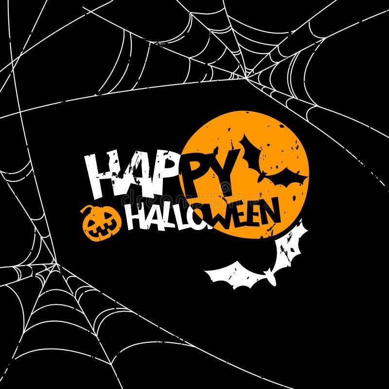 Insegna felice di Halloween, elementi di progettazione del manifesto Illustrazione di festa con la luna piena, pipistrello, zucca illustrazione di stock