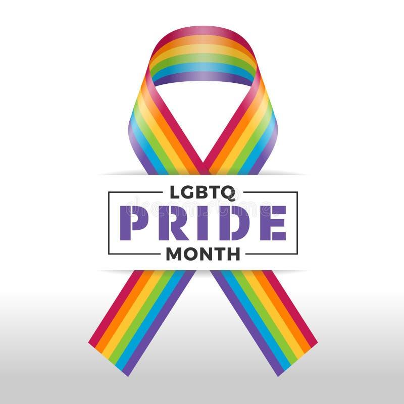 Insegna felice di mese di orgoglio con progettazione di vettore del segno del nastro del testo e dell'arcobaleno di tipografia illustrazione vettoriale