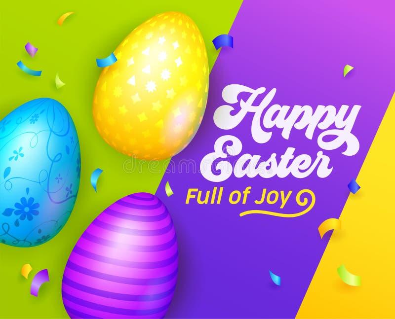 Insegna felice di Pasqua con le uova variopinte Modello della cartolina d'auguri di Pasqua Invito internazionale del partito di p illustrazione vettoriale
