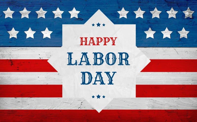 Insegna felice di saluto di festa del lavoro, bandiera degli S.U.A. fotografia stock libera da diritti
