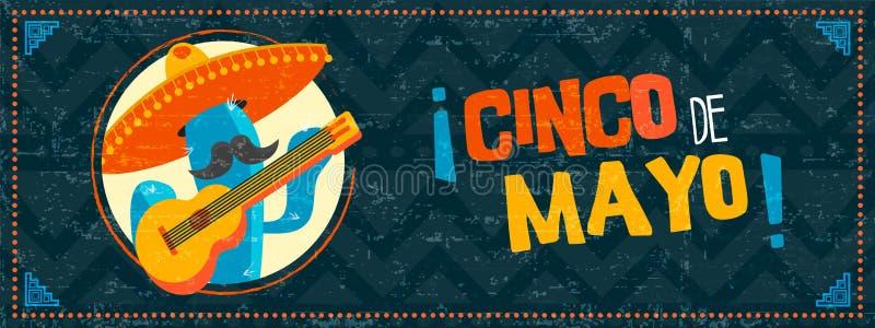 Insegna felice di web dei mariachi del cactus del de Mayo di cinco illustrazione vettoriale