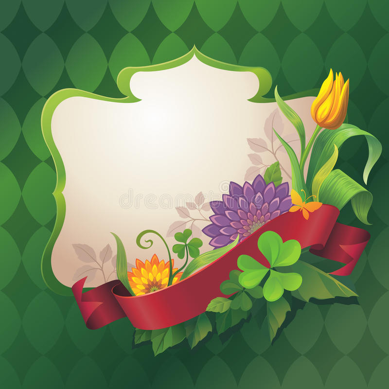 Insegna floreale decorata astratta con l'etichetta rossa del nastro su fondo verde illustrazione vettoriale