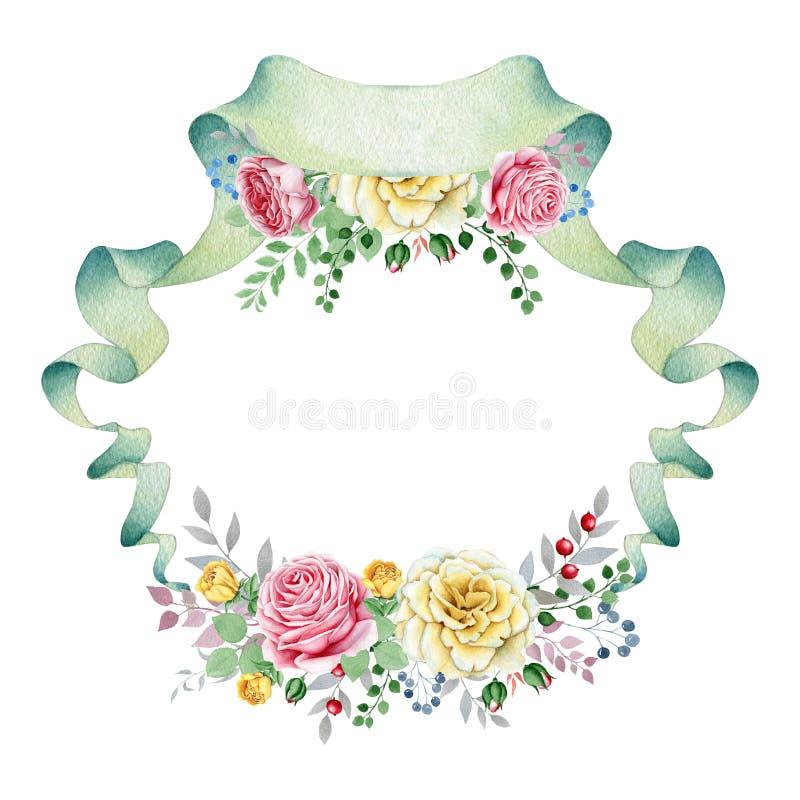 Insegna floreale dell'acquerello con i mazzi rosa royalty illustrazione gratis