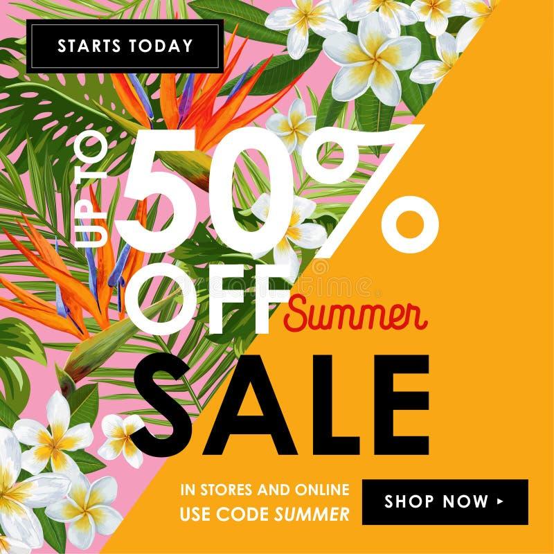 Insegna floreale di vendita di estate Pubblicità stagionale di sconto con i fiori rosa di plumeria Primavera tropicale di paradis illustrazione vettoriale