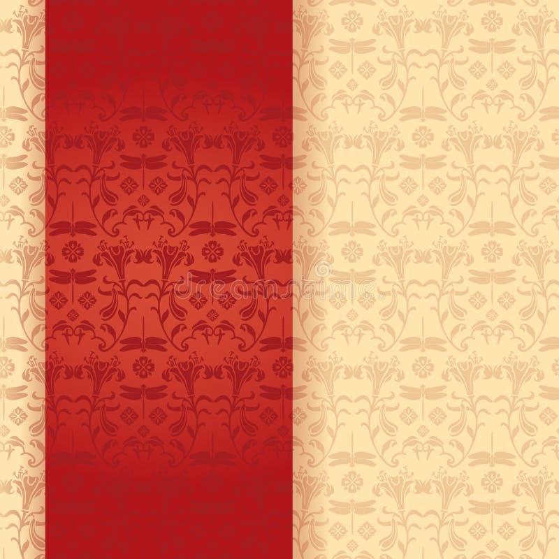 Insegna floreale orientale classica rossa e crema di verticale della libellula royalty illustrazione gratis