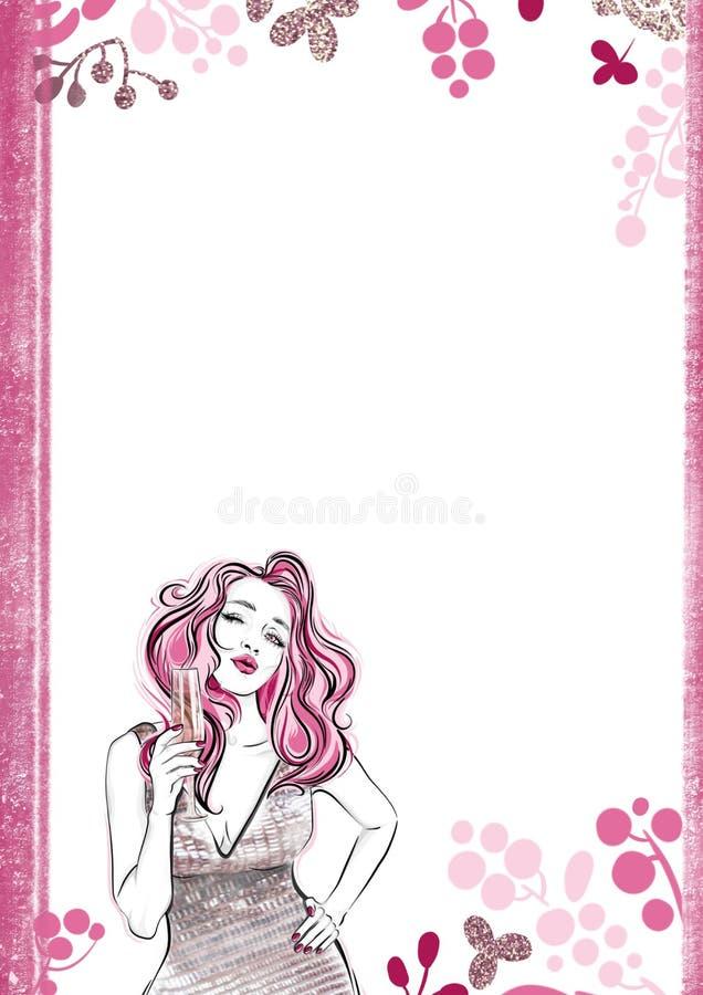 Insegna floreale verticale Ragazza con un vetro di champagne che invia bacio dell'aria Modelli per il invintation illustrazione vettoriale