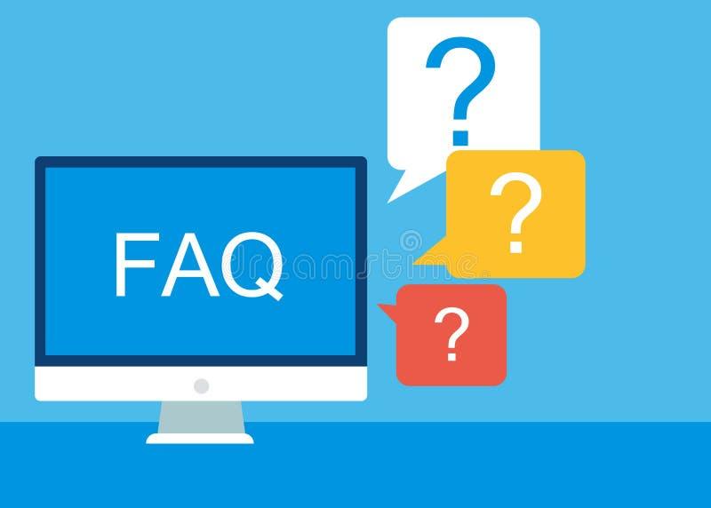 Insegna frequentemente chiesta del FAQ di domande Computer con le icone di domanda illustrazione di stock