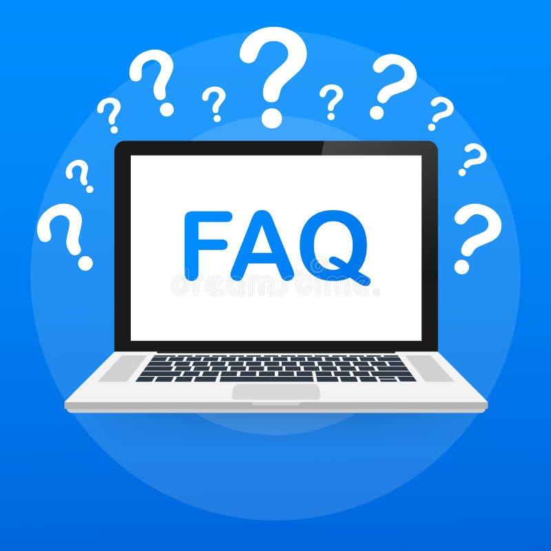 Insegna frequentemente chiesta del FAQ di domande Computer con le icone di domanda Illustrazione di vettore royalty illustrazione gratis