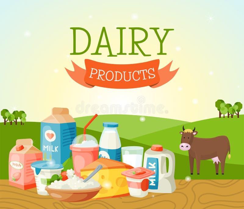 Insegna fresca di concetto dei prodotti lattier-caseario, illustrazione di vettore del manifesto Organico, alimento di qualità Gr illustrazione vettoriale