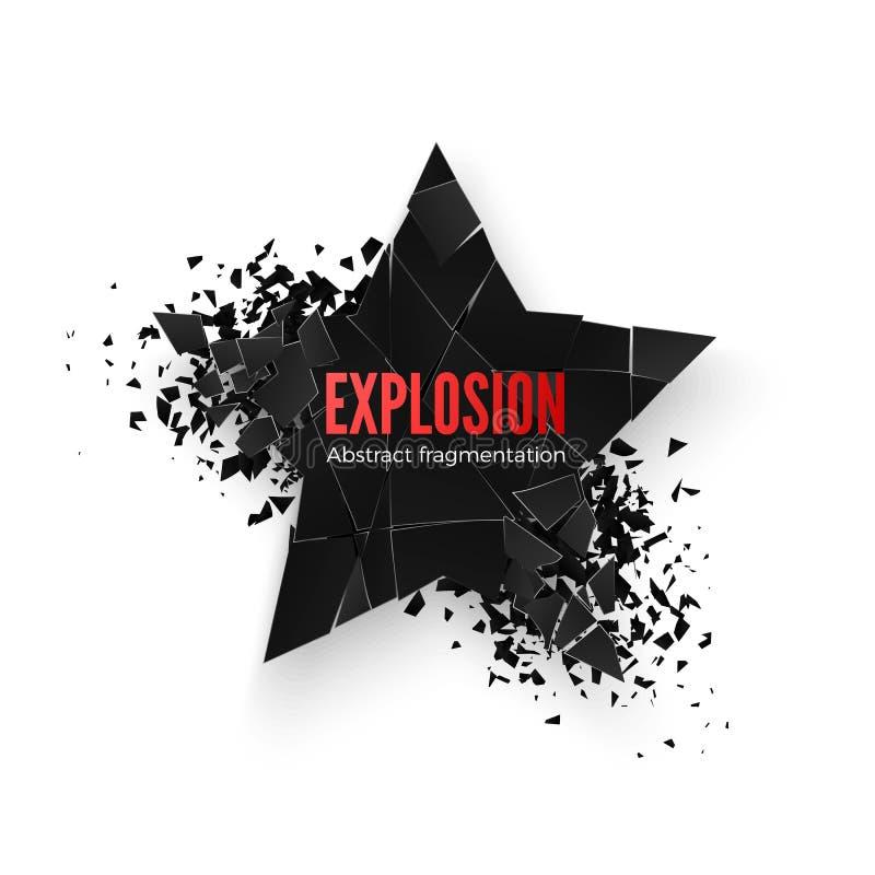 Insegna geometrica con spazio per testo Priorità bassa geometrica Esplosione astratta di forma nera della stella Vettore o isolat royalty illustrazione gratis