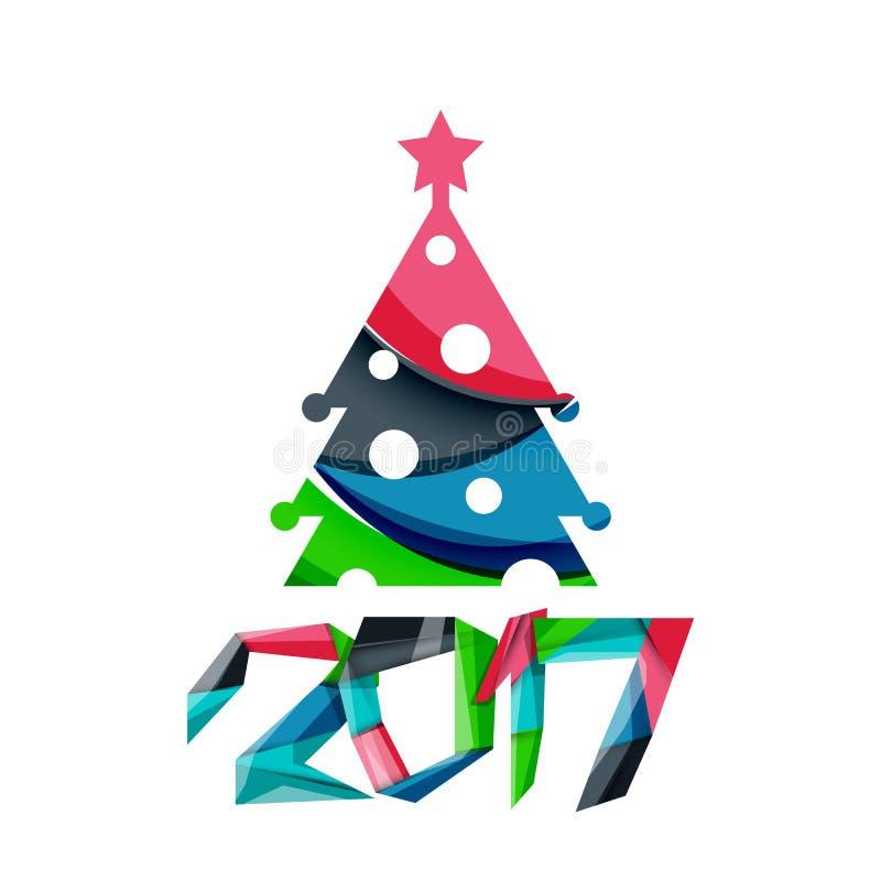 Insegna geometrica di Natale, 2017 nuovi anni illustrazione vettoriale
