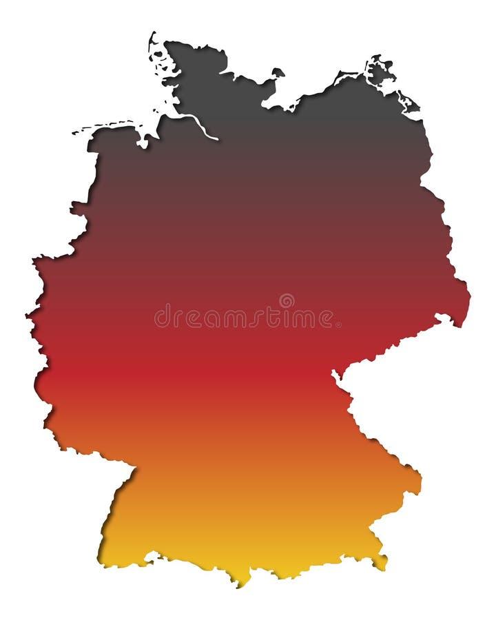 Insegna Germania - mappa della Germania - alto dettagliato illustrazione di stock