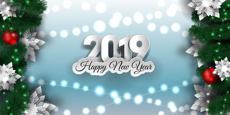 Insegna 2019, ghirlanda scintillante del nuovo anno e di Natale delle luci di natale con l'albero di Natale illustrazione di stock