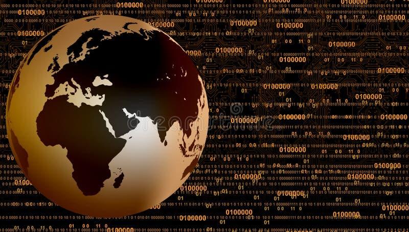 Insegna globale di tecnologia Priorit? bassa di tecnologia di affari illustrazione di stock