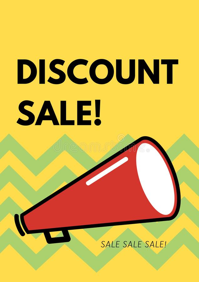Insegna, illustrazione, vendita e sconti di pubblicità fotografie stock