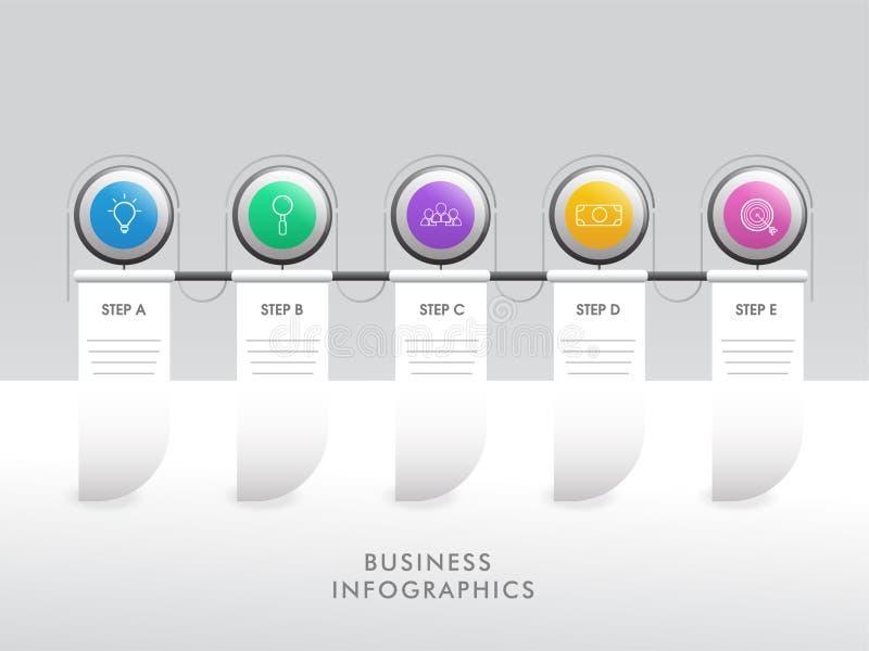 Insegna infographic di cronologia differente di punto cinque per l'affare illustrazione vettoriale