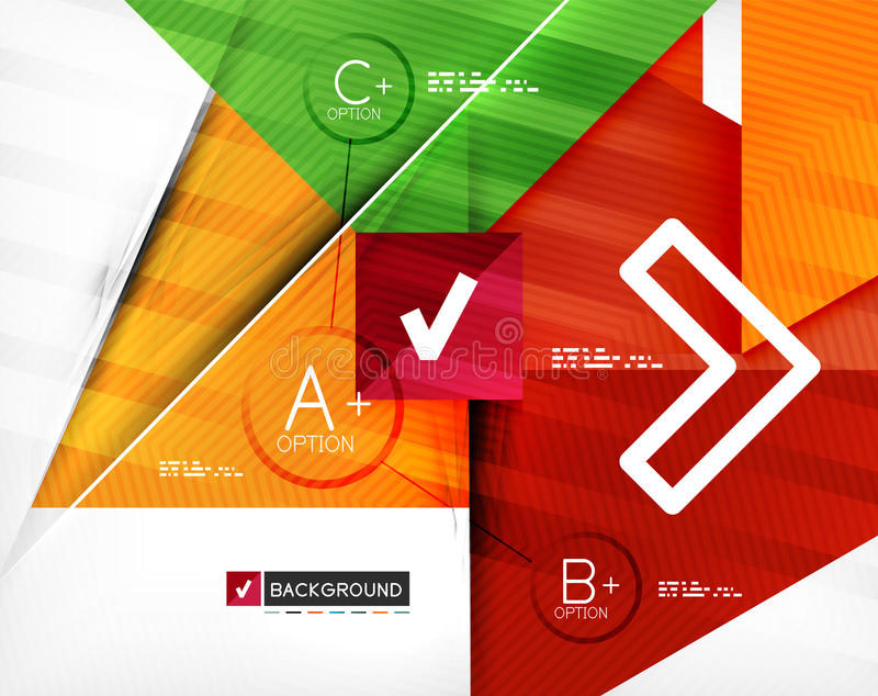 Insegna infographic geometrica di opzione di affari illustrazione di stock