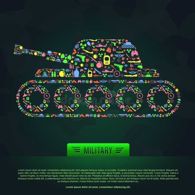 Insegna infographic militare piana dell'icona del modello dell'arma e dell'esercito illustrazione vettoriale