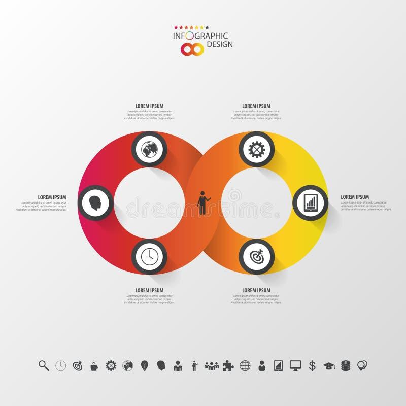 Insegna infographic moderna di opzione Infinito rotondo astratto illustrazione vettoriale