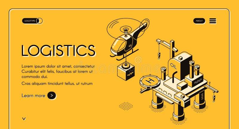 Insegna isometrica di web di vettore della società di logistica di aria illustrazione di stock