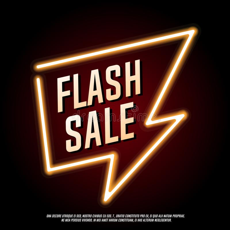 Insegna istantanea del neon di vendita illustrazione di stock