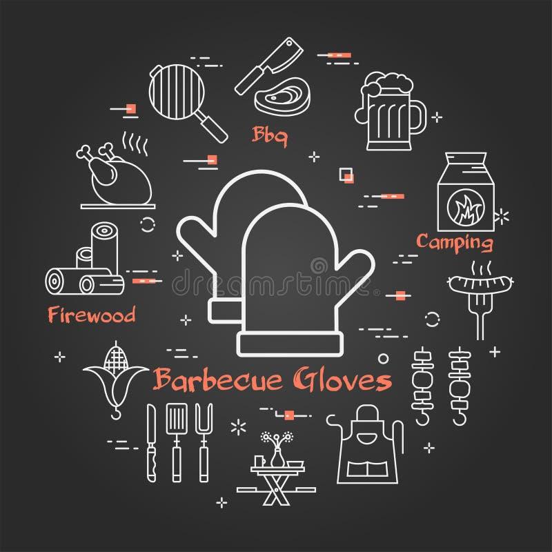 Insegna lineare del nero di vettore dei guanti del barbecue royalty illustrazione gratis