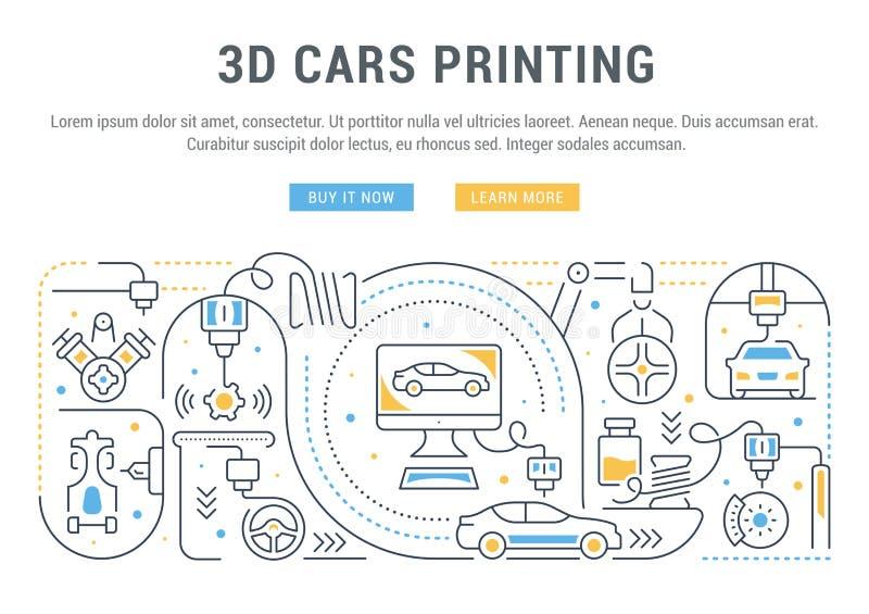 Insegna lineare di stampa delle automobili 3D illustrazione di stock